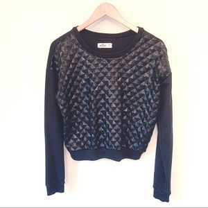 Hollister Diamond Sequin Raglan Sweatshirt Top
